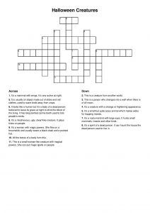 Halloween Creatures - crossword